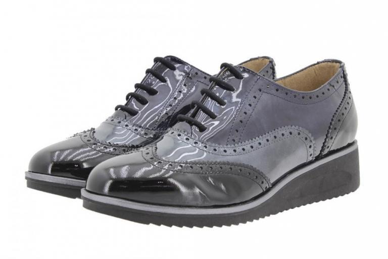 Tie shoe Patent Black-Grey 9621
