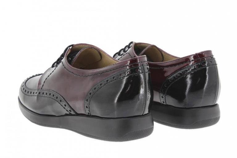 Zapato Cordón Charol Negro-Burdeos 9630