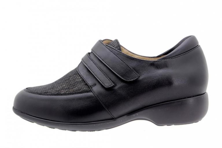 Velcro shoe Leather Black 9679
